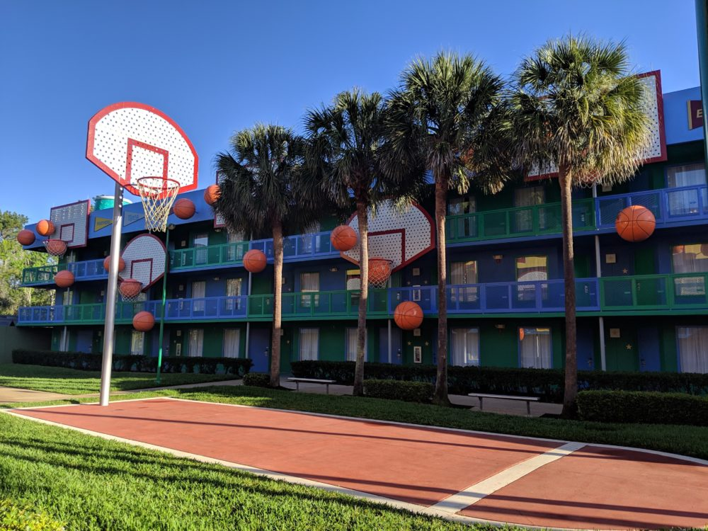 Beautiful colors & basketball theming make up Hoops Hotel at Disney All Star Sports Resort