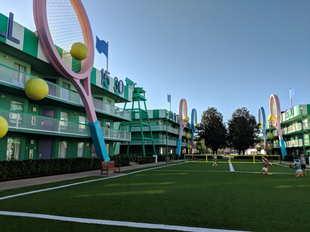 Tennis themed section of Disney's All Star Sports hotel