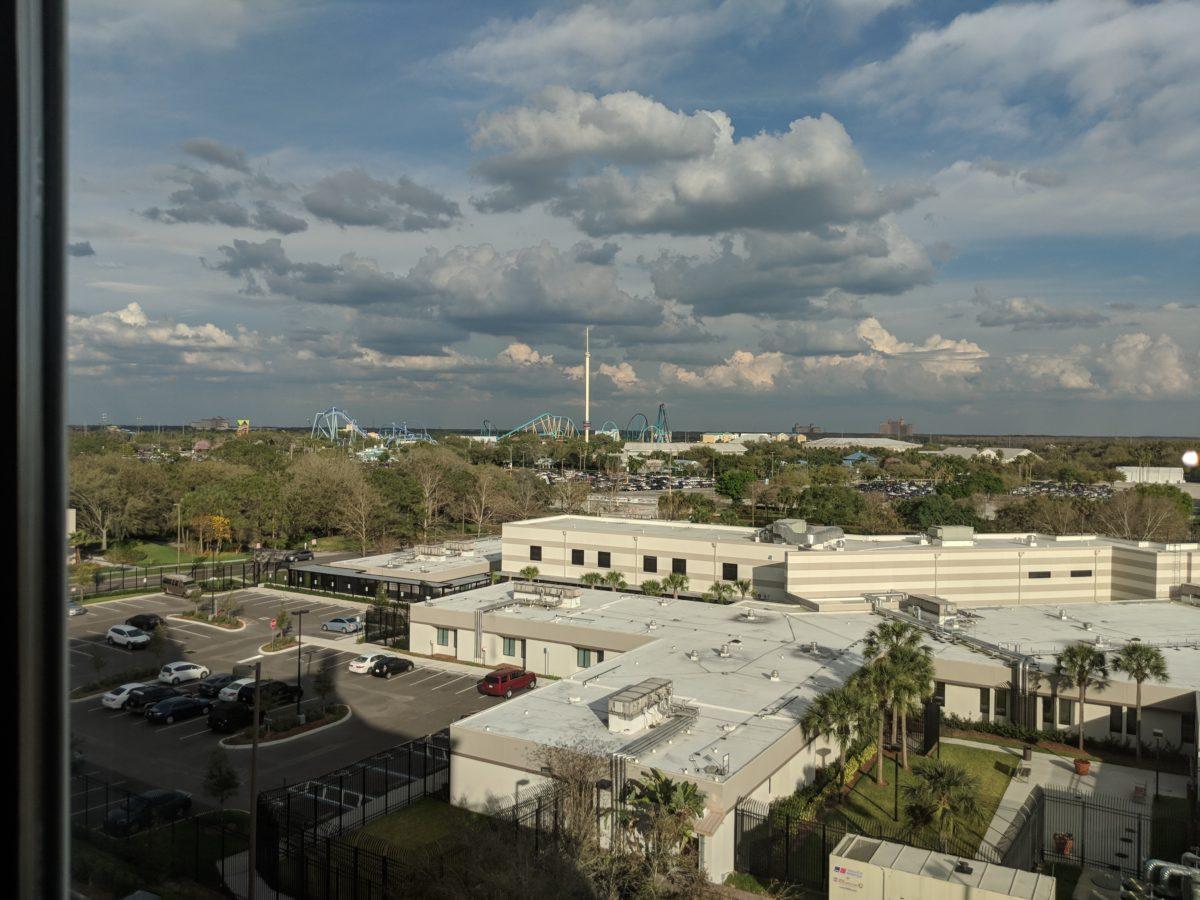 See SeaWorld & Aquatica theme parks from you room at Hilton Garden Inn in Orlando Florida