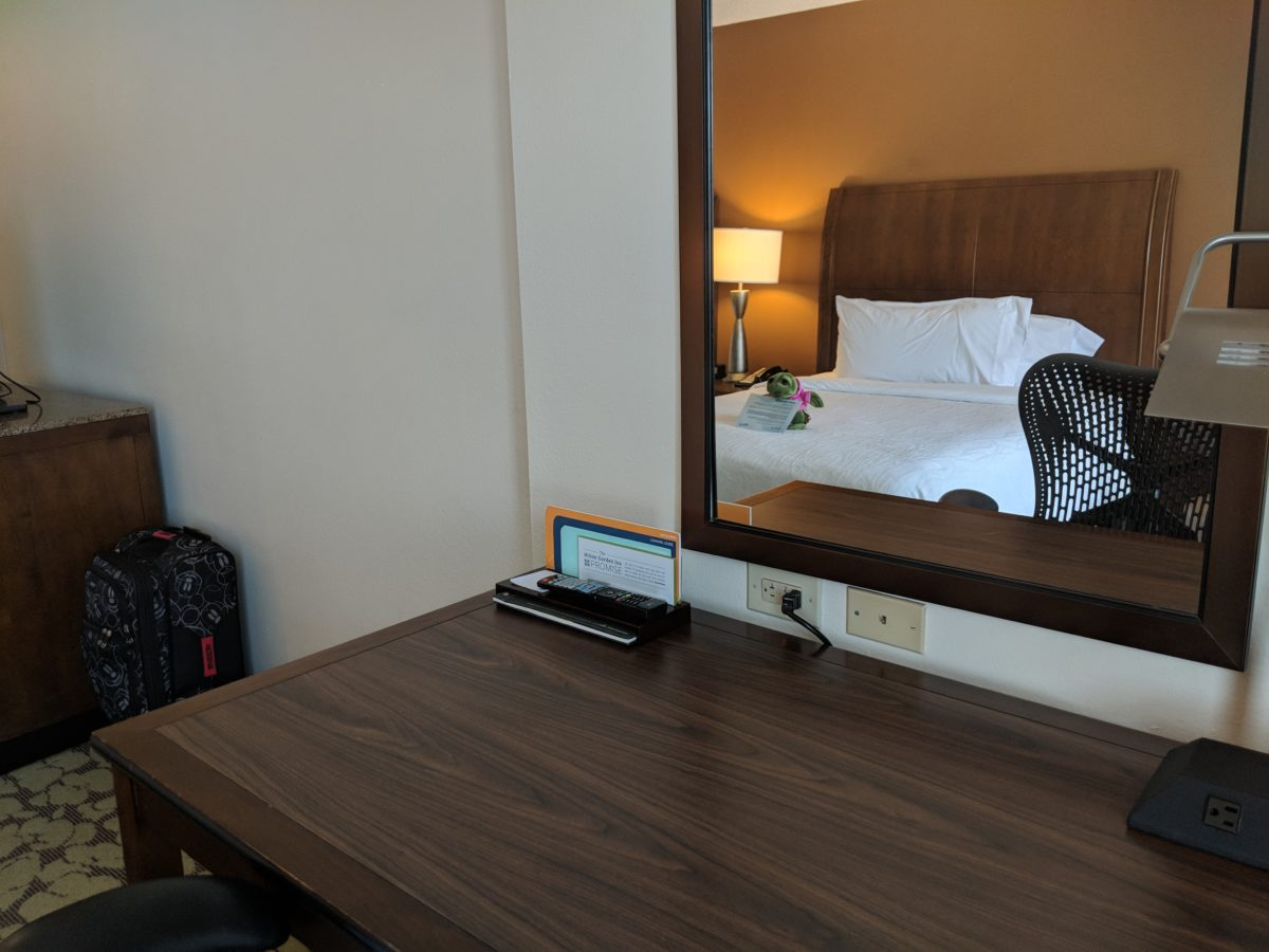 Hilton Garden Inn Orlando at SeaWorld has great rooms with comfortable beds & a desk for working if you are there on business.
