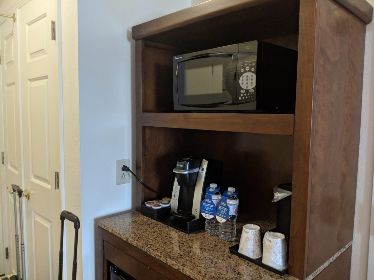 Hilton Garden Inn Orlando at SeaWorld has great amenities such as a coffee maker, fridge & microwave