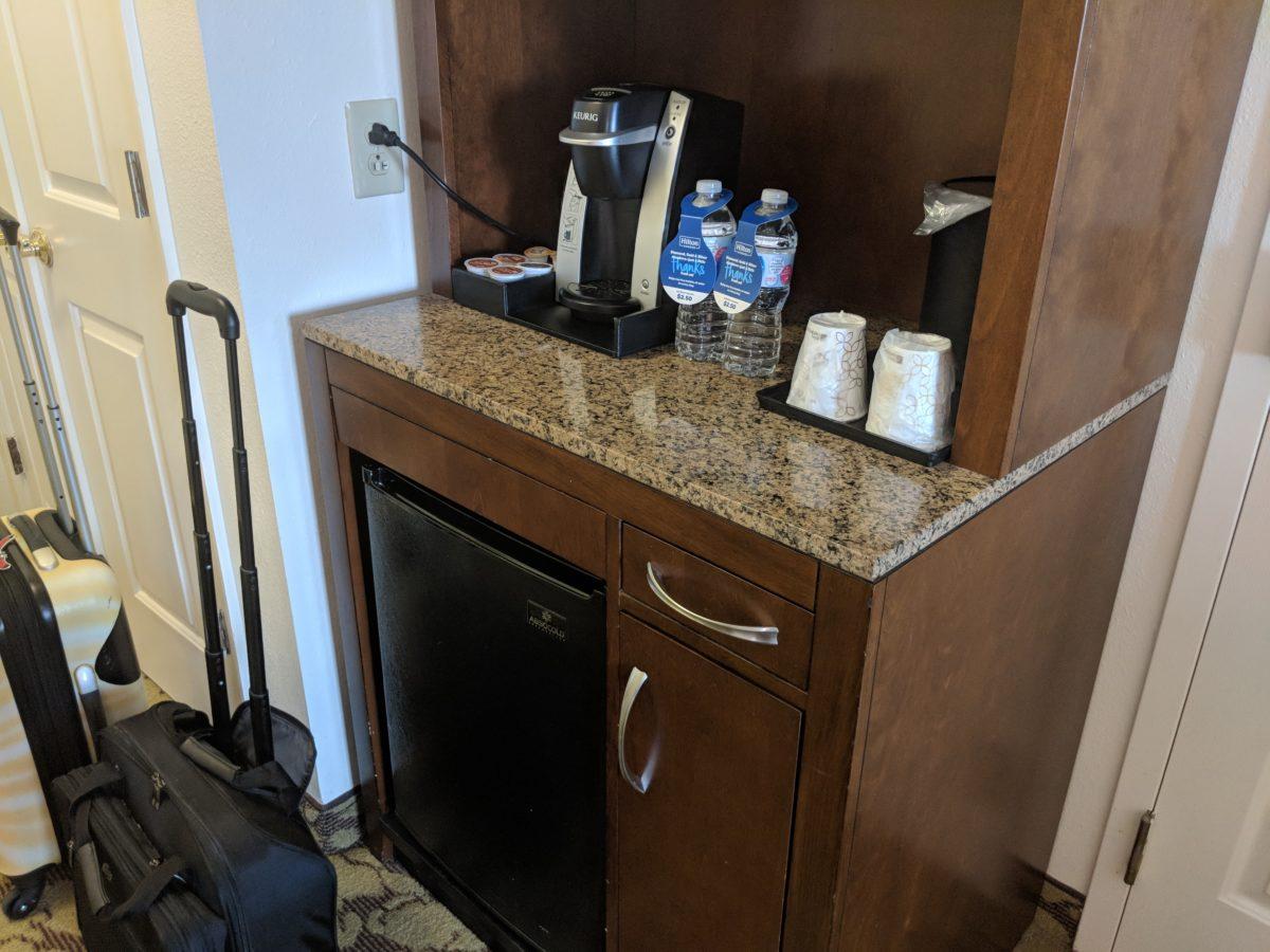 A picture of the coffee maker & refrigerator at SeaWorld Orlando hotel Hilton Garden Inn