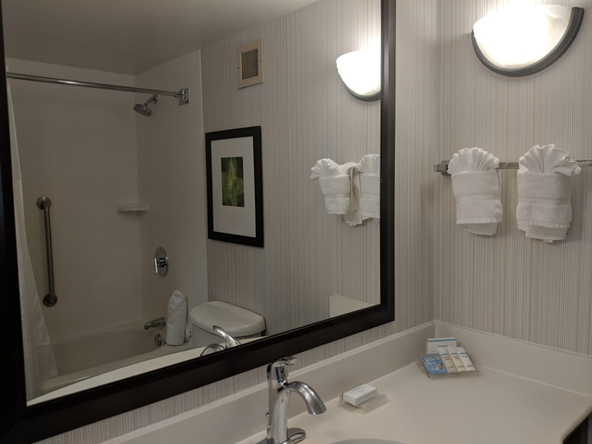 What your bathroom will look like if you stay at Hilton Garden Inn in Orlando, Florida by SeaWorld