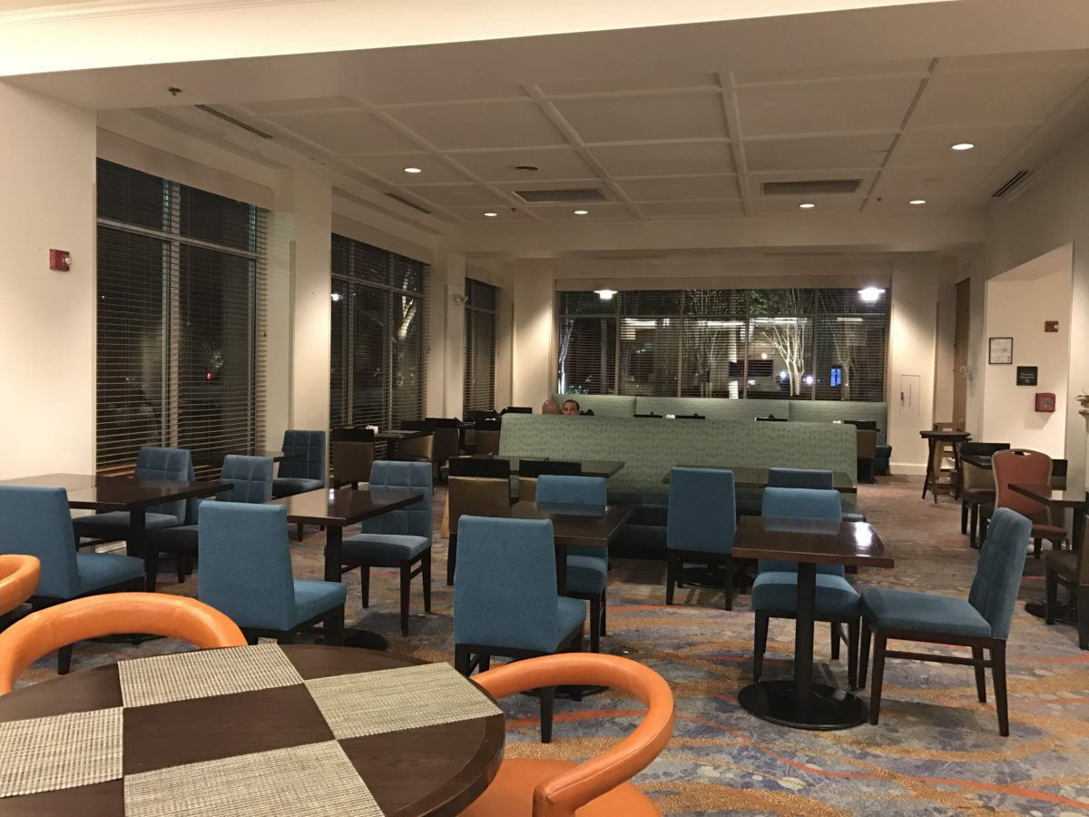 Enjoy breakfast dinner & at onsite restaurant at Hilton Garden Inn Orlando Florida by SeaWorld