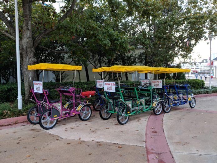 Rent a surrey bike for family fun at Boardwalk hotel at Walt Disney World Resort in Orlando Florida
