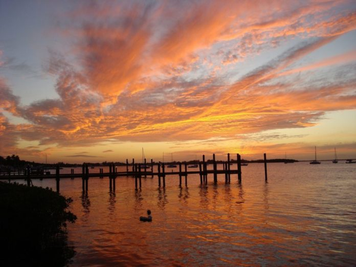 A picture of a sunset in Key Largo, Florida. Travel advice on the best luxury hotels in Key Largo