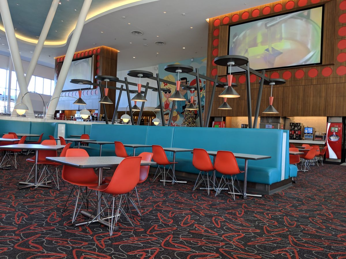 Bayliner Diner, the food court at Universal's Cabana Bay Beach Resort, has commercials from the 1950s & 1960s
