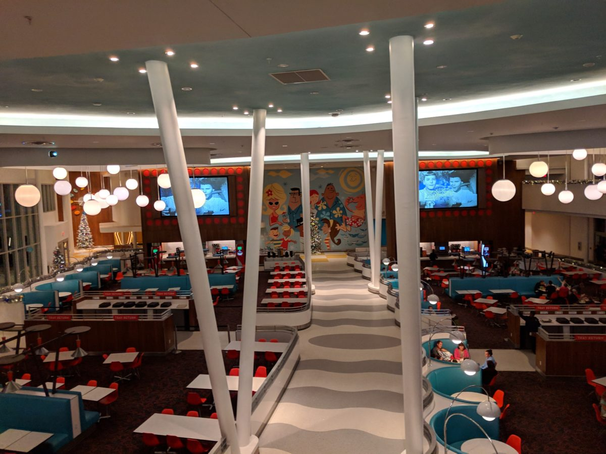 See the tables, retro commercials at Bayliner Diner at Universal's Cabana Bay Beach Resort In Orlando, Florida