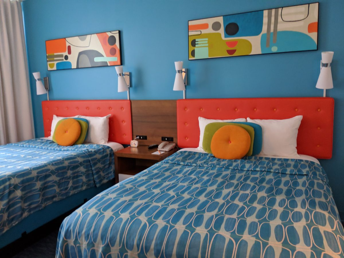 A picture of the beds in the rooms at Universal's Cabana Bay Beach Resort