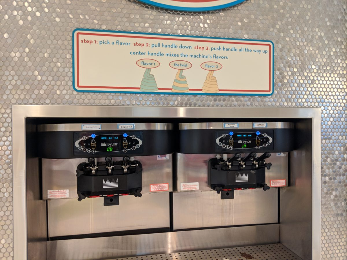 A picture of the self serve yogurt at Bayliner Diner at Universal Orlando Florida's Cabana Bay Beach Resort