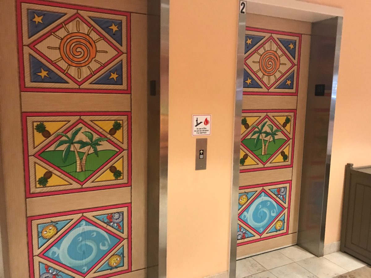 Even the elevators at Cedar Point's Castaway Bay have the hotel's Caribbean theme