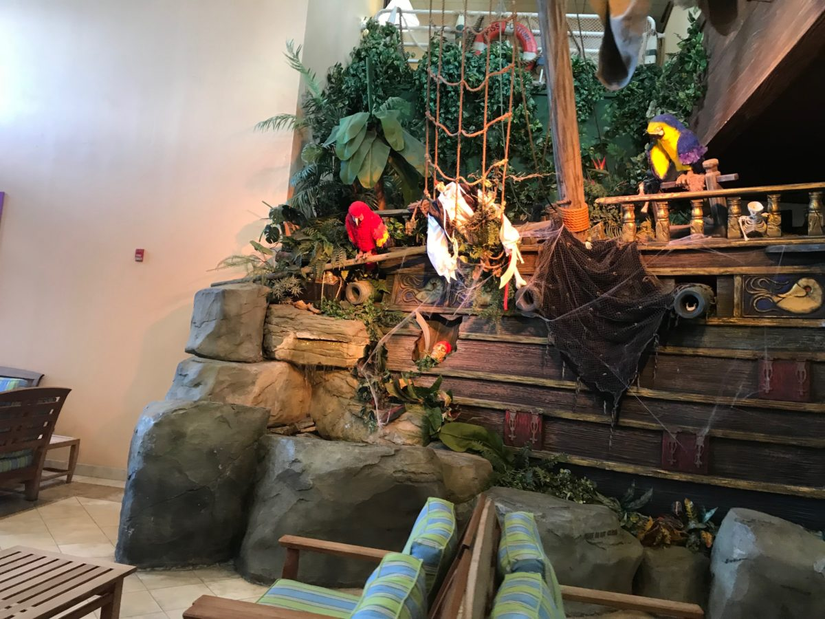 Kids can have fun exploring the pirate ship in the lobby at Cedar Point's Caribbean themed hotel Castaway Bay