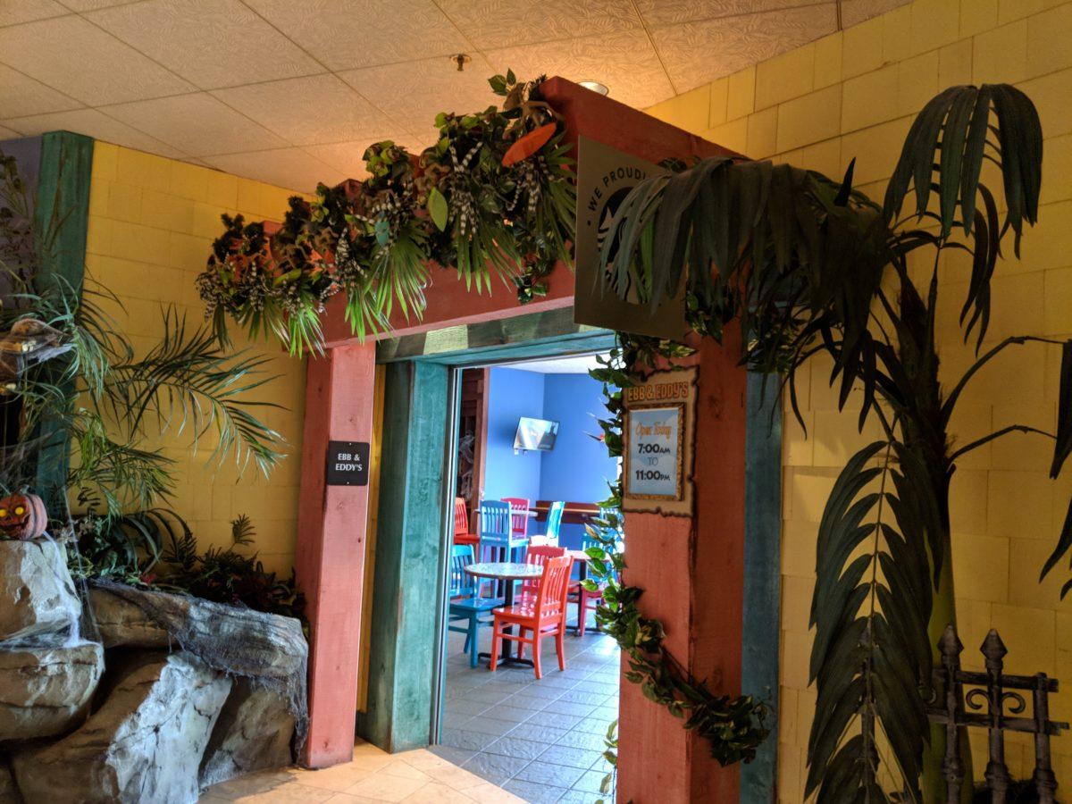 A fully Caribbean themed Ebb & Eddy's restaurant at Castaway Bay Resort & Water Park on Cleveland Road in Sandusky