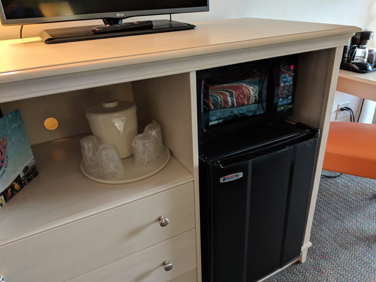 I love the refrigerator & microwave at the family rooms at Castaway Bay's Cedar Point in Sandusky OH