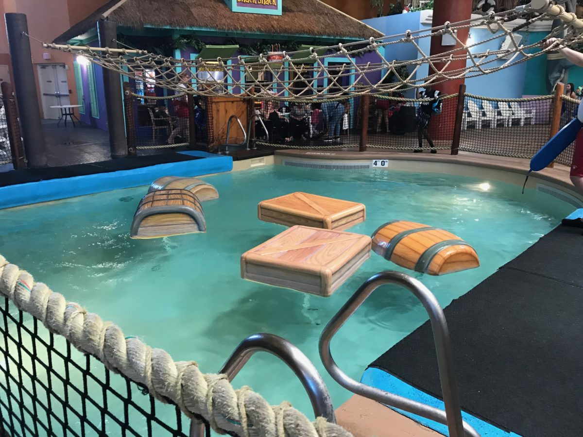 Enjoy fun objects in the pool at Castaway Bay's water park in Sandusky OH