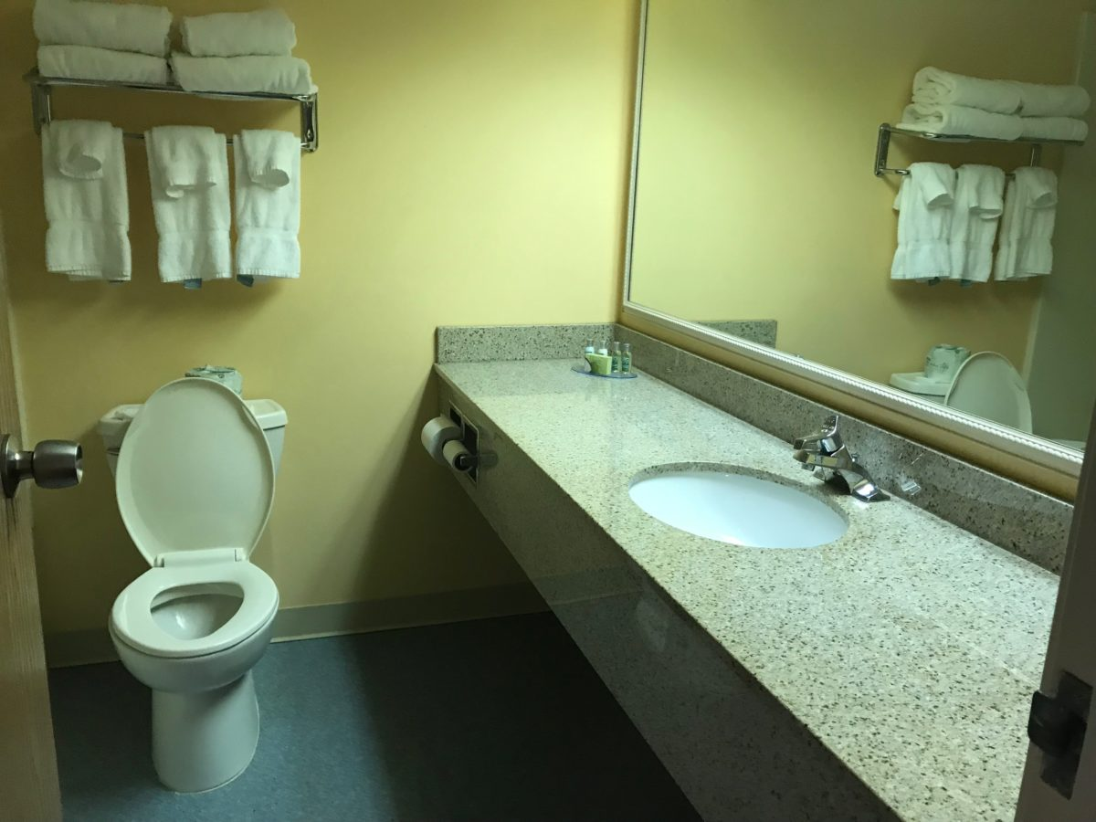 Family rooms at Castaway Bay hotel at Cedar Point have spacious bathrooms