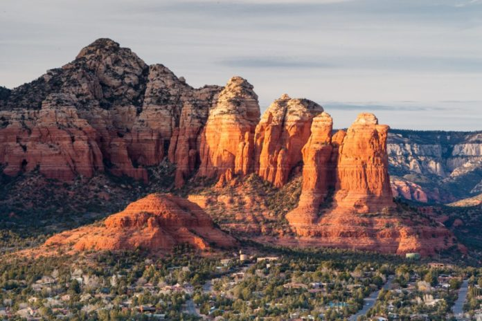 View from Airport Mesa in Sedona at sunset in Arizona, USA. Learn how to win a free trip there