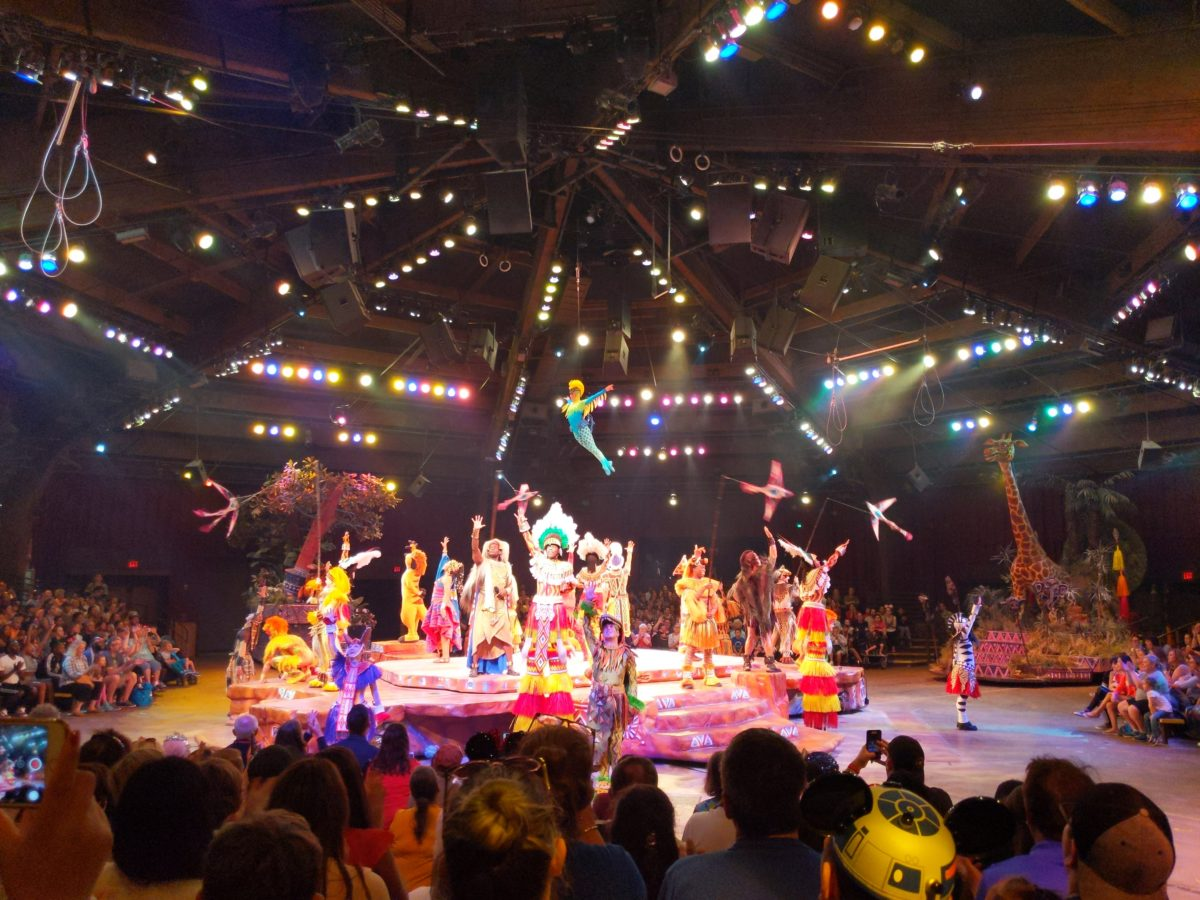 One way to beat the heat at Disney's Animal Kingdom is to watch the Festival of the Lion King indoors