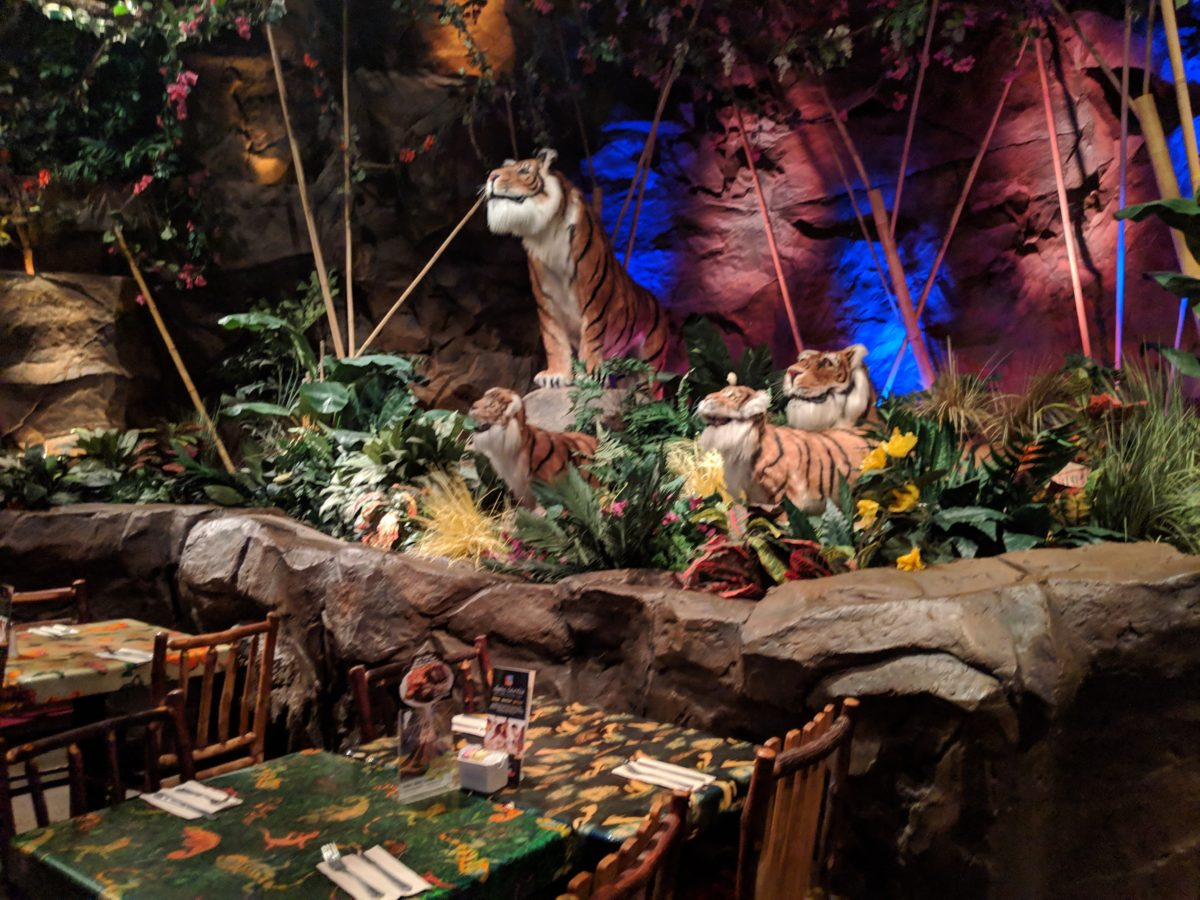 Rainforest Cafe at Disney World is a great restaurant with delicious food that is always cool inside