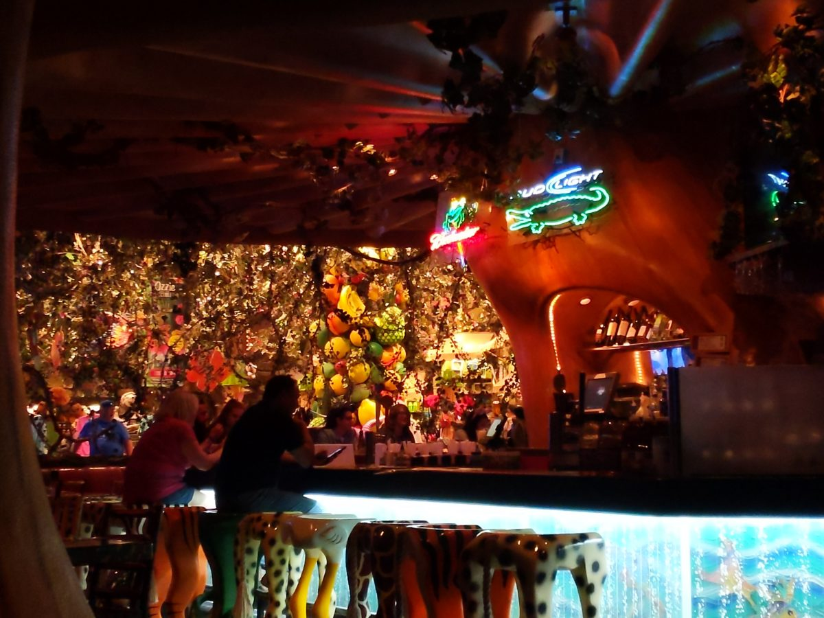 Rainforest Cafe at Animal Kingdom in Disney World has a great air conditioned bar area