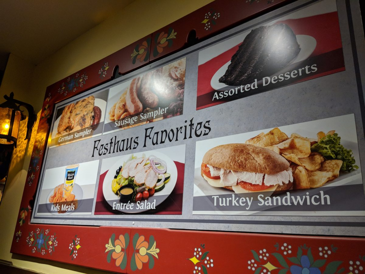A picture of some of the German food you can get at Busch Gardens Williamsburg theme park in Virginia