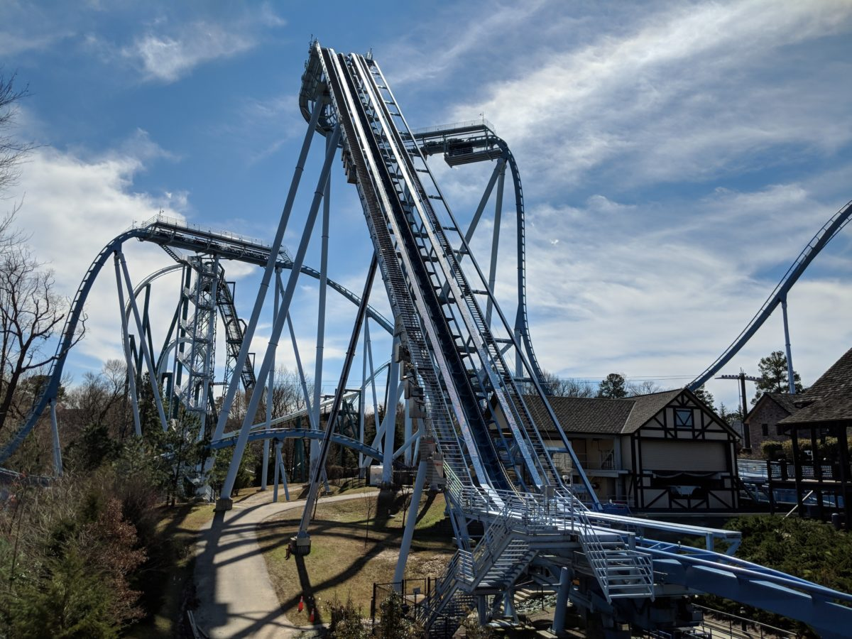 A picture of Griffon, one of the eight roller coasters thrill seekers can ride at Busch Gardens in Virginia
