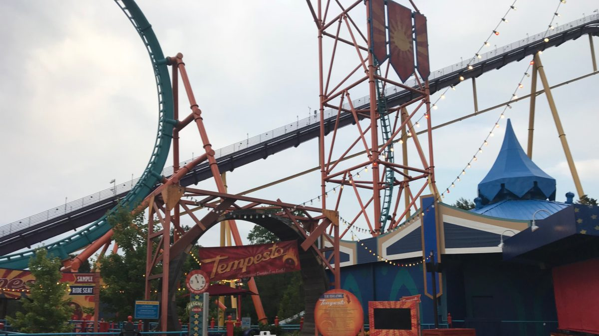 A picture of Tempesto roller coaster. Enjoy lots of roller coasters when you visit Busch Gardens theme park in Historical Williamsburg