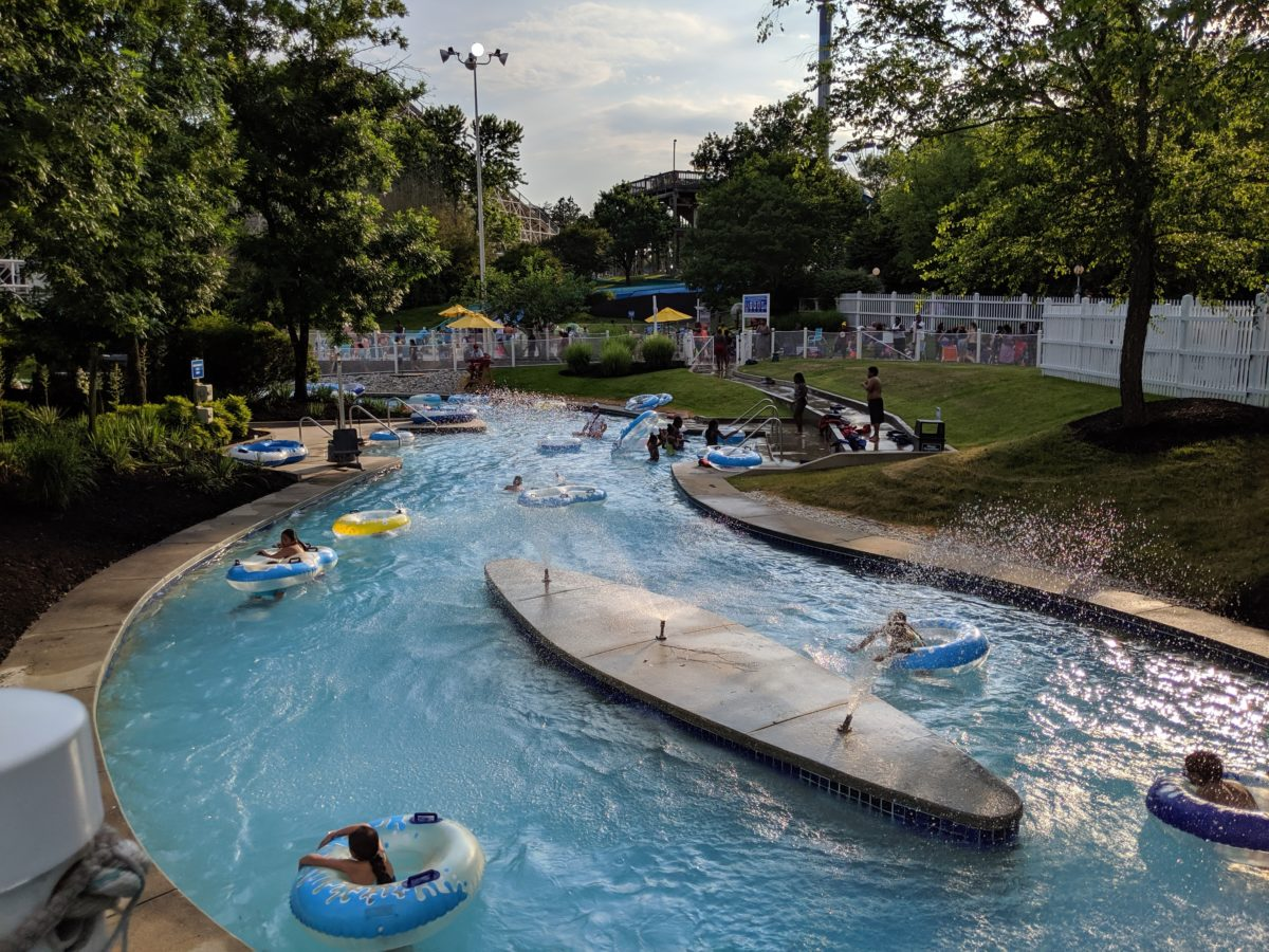 Kings Dominion theme park in Richmond Virginia has a water park inside it that has a lazy river