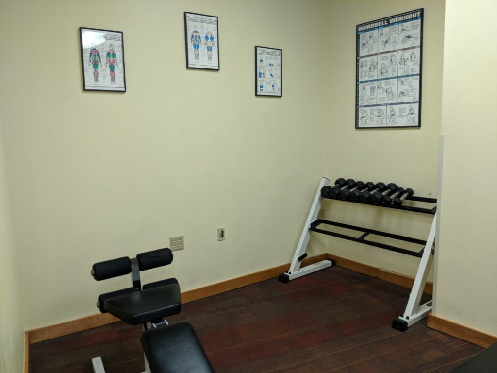 Best Western Lake Buena Vista part of Disney World Resort in Florida has a workout room with weights