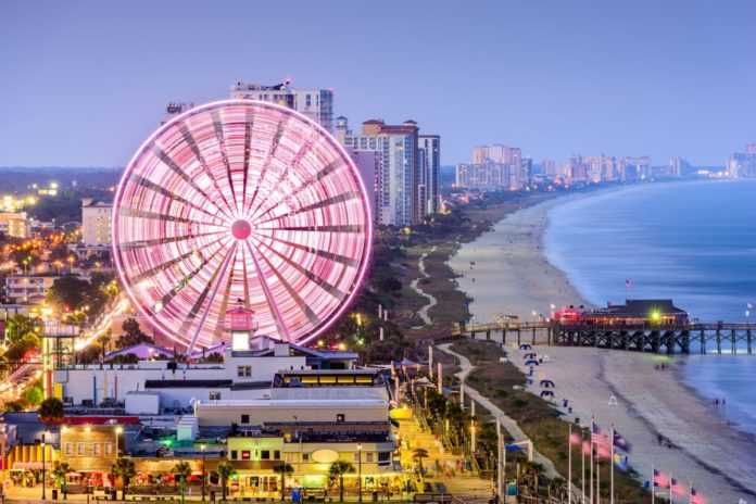 Myrtle Beach, South Carolina, USA city skyline. Find out how to get a discounted rate at a top Myrtle Beach hotel